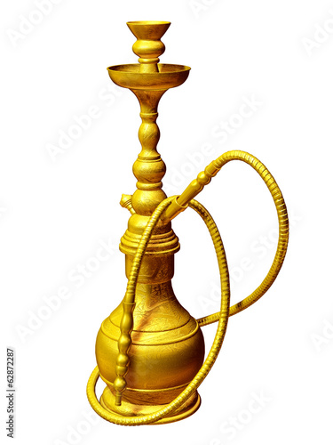 golden Waterpipe or shisha,