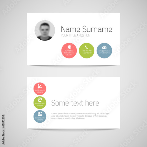 Modern business card template with flat user interface