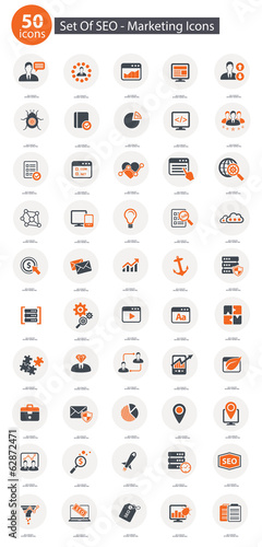 Set Of SEO,Marketing Icons,Orange version,vector