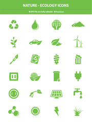 Nature & Ecology icons,Green version