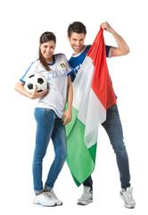 Mondiali Calcio  - Ragazza e ragazzo tifosi Italia