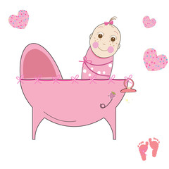 Baby girl crib icon vector