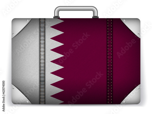 Qatar Travel Luggage with Flag for Vacation