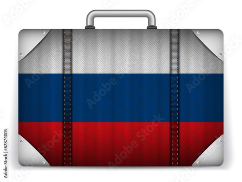 Russia Travel Luggage with Flag for Vacation