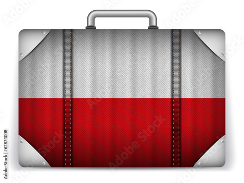 Poland Travel Luggage with Flag for Vacation