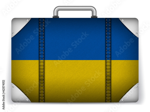 Ukraine Travel Luggage with Flag for Vacation