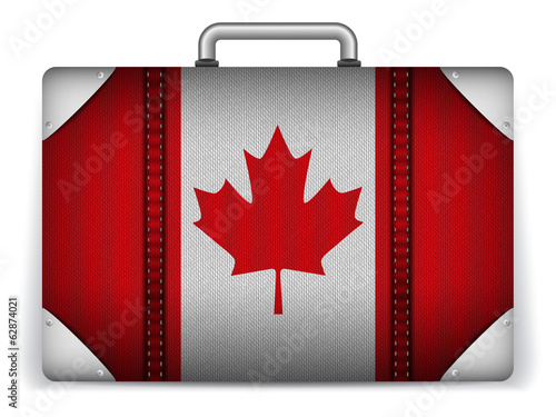 Canada Travel Luggage with Flag for Vacation