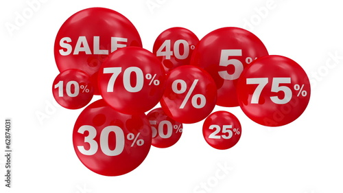 Group of Discount Balls. Looping HQ Video Clip with Alpha Matte