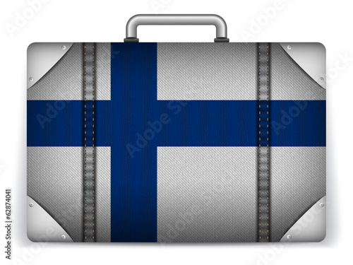 Finland Travel Luggage with Flag for Vacation