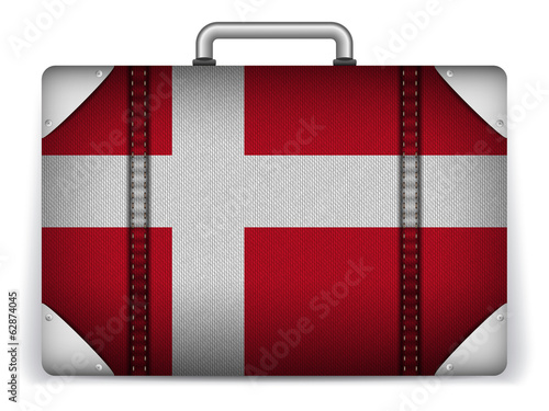 Denmark Travel Luggage with Flag for Vacation