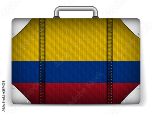 Colombia Travel Luggage with Flag for Vacation