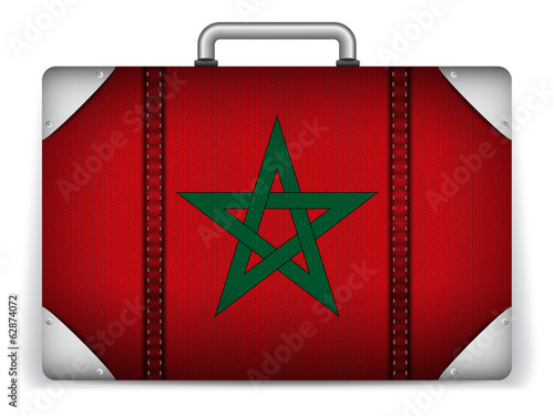 Morocco Travel Luggage with Flag for Vacation
