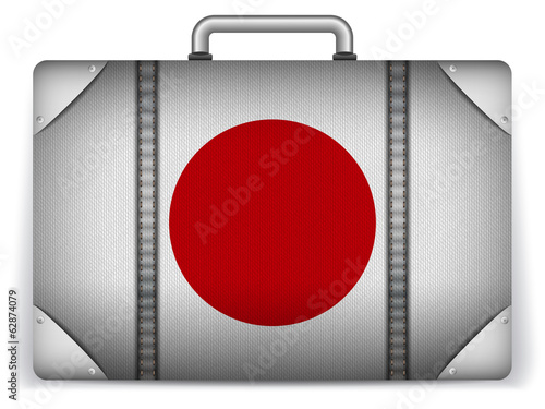 Japan Travel Luggage with Flag for Vacation