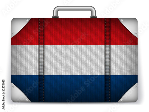 Netherlands Travel Luggage with Flag for Vacation