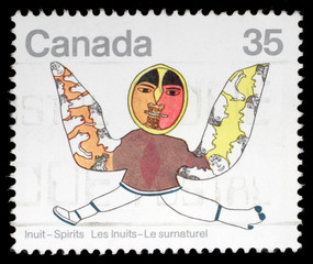 Stamp printed by Canada, shows Spirits by Eskimo Artists