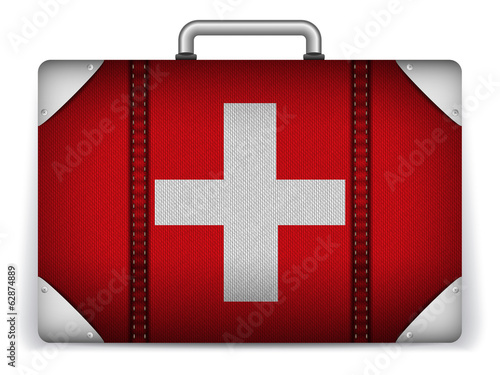 Switzerland Travel Luggage with Flag for Vacation