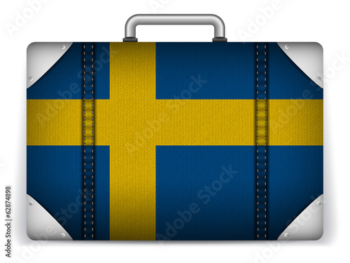 Sweden Travel Luggage with Flag for Vacation