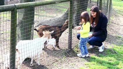 mamma e bambina alla fattoria