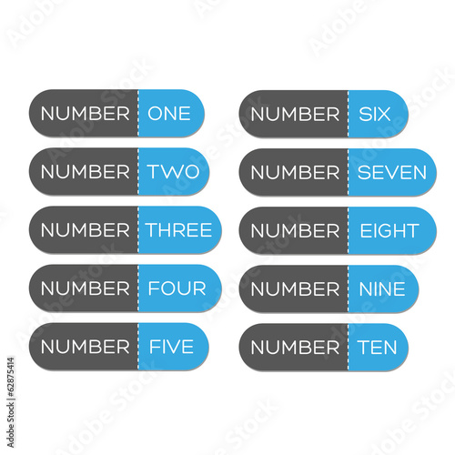 Number set button blue