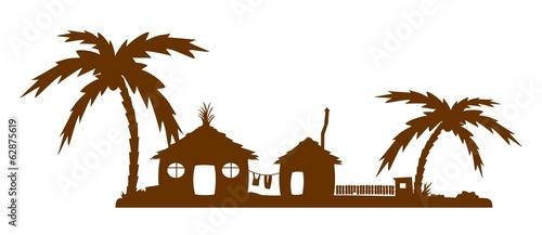 Silhouette of exotic village
