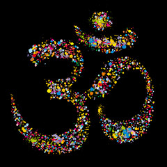Grunge colourful religious hindu symbol Om, vector illustration