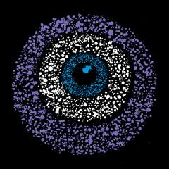 Grunge colourful amulet symbol - evil eye, vector illustration