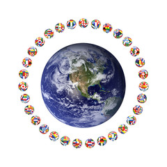 3D render of group of footballs around the earth