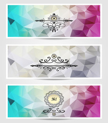 Set Abstract triangle banners  cyan lilac silver color