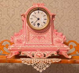 Ceramic table clock from 19. cent. in palace Saint Anton.