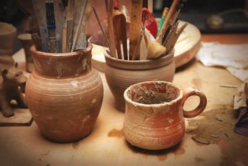Handmade old clay pots