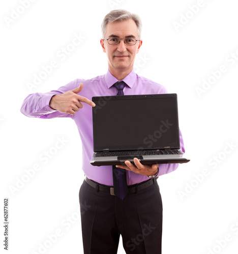 Businessman holding lap top