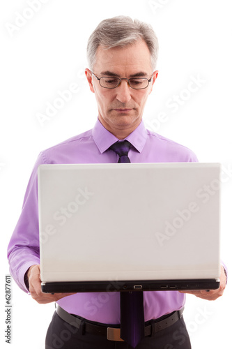 Business man holding computer