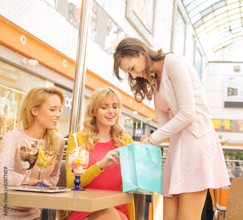 Attractive lady showing her girlfriends some shopping