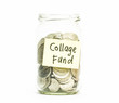 Isolated coins in jar with college fund label