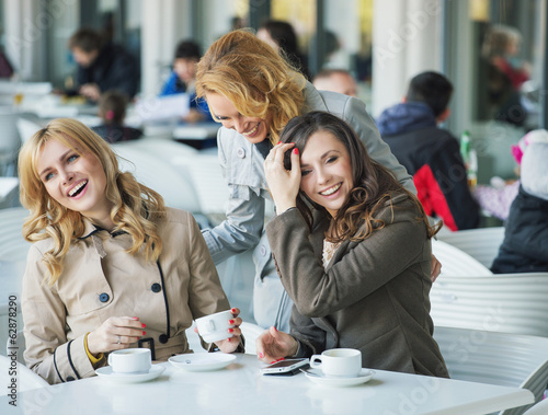 Group of laughing young women