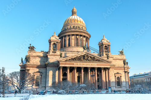 St. Isaak cathedral in winter. St.Petersburg, Russia