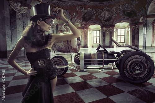 Foto op Canvas Foto van de dag Fancy clothed woman with retro car