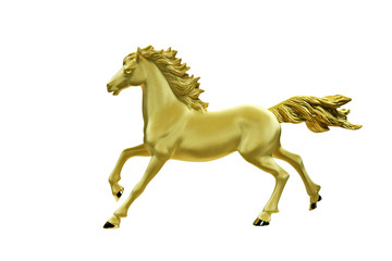 Golden horse statue isolated on white background