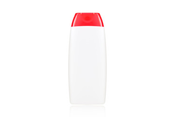 White plastic bottle with red cover isolated on white background