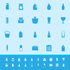 Design package color icons on blue background
