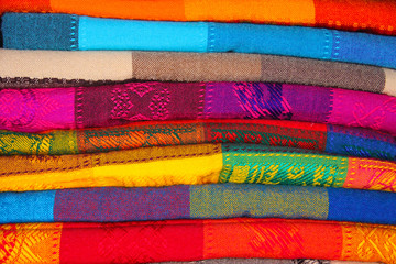 Colorful blankets at the Mexican market