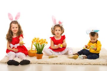 Easter three kids with bunny ears