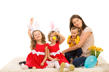 Mother and kids prepare for Easter