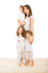 Happy mother with three children