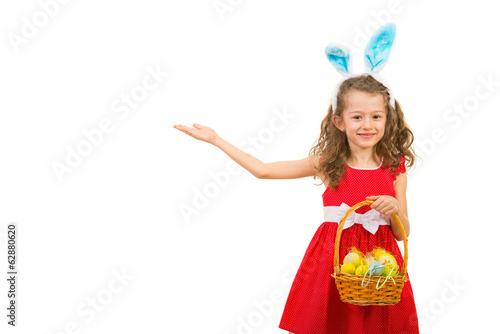 Little girl with bunny ears making presentation