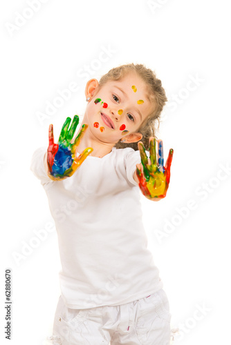 Beauty girl showing her  colorful hands