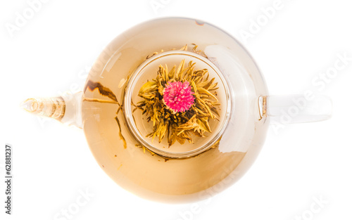 Top view of Tea Flower in a Clear Teapot