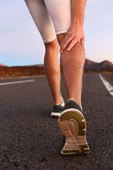 Cramps in leg calves or sprain calf on runner