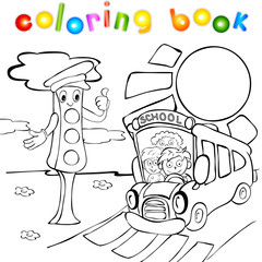 Traffic lights with school bus. Coloring book