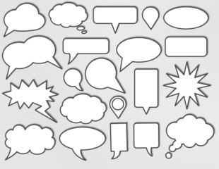 Vector speech bubbles with shadow